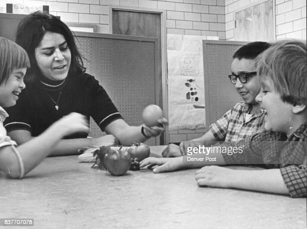 NOV 21 1968 NOV 24 1968 DEC 31 1968 'Orange' the children proudly identify a piece of wax fruit held by Darlene Marquez in speech therapy L to R...