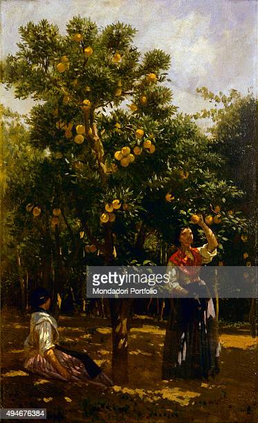 Orange Tree and Women by Filippo Palizzi 19th Century oil on canvas 57 x 35 cm Italy Lazio Rome National Gallery of Modern and Contemporary ArtGNAM...