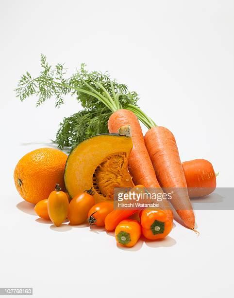 Orange vegetables and fruits