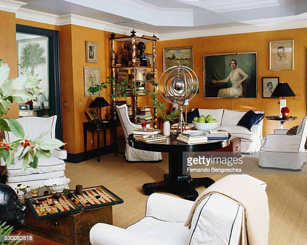 Orange Walls in Living Room