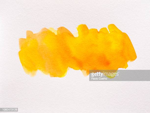 orange watercolor brush strokes - orange background stock pictures, royalty-free photos & images