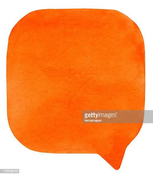 Orange watercolour speech bubble
