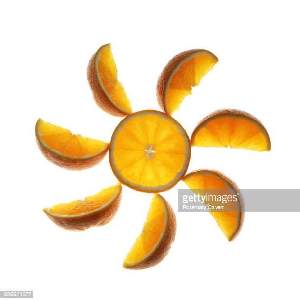 Orange wheel of freshness, on a white square background.