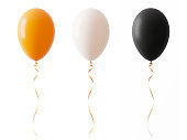 Orange White And Blacked Colored Halloween Balloons Isolated On White Background