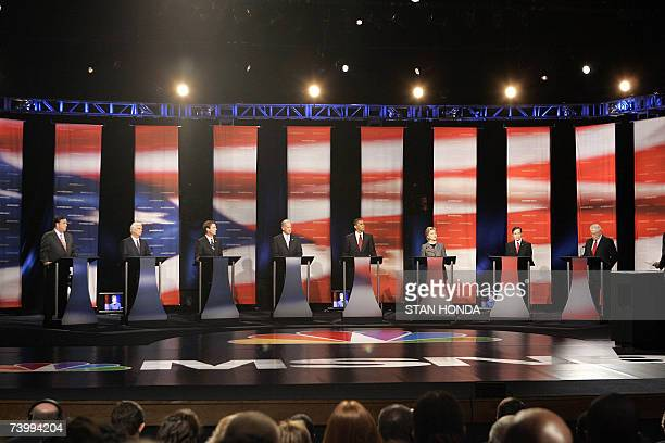 Democratic presidential hopefuls New Mexico Governor Bill Richardson US Senator Christopher Dodd former US Senator John Edwards US Senator Joe Biden...