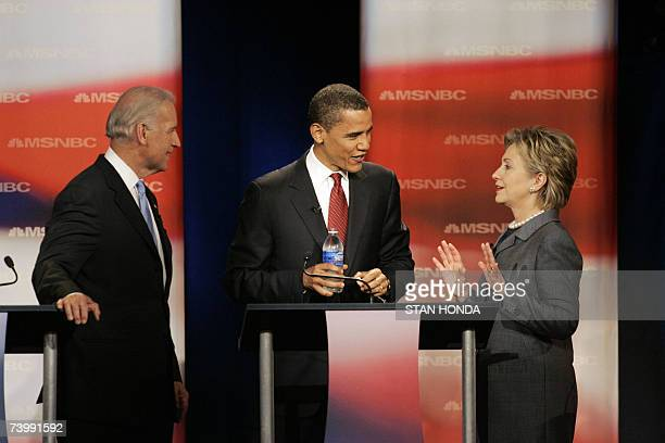 Democratic presidential hopefuls US Senator Joe Biden US Senator Barack Obama and US Senator Hillary Rodham Clinton arrive at the Democratic Party...
