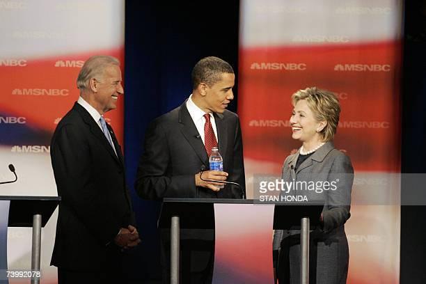 Orangeburg, UNITED STATES: Democratic presidential hopefuls US Senator Joe Biden, US Senator Barack Obama and US Senator Hillary Rodham Clinton...