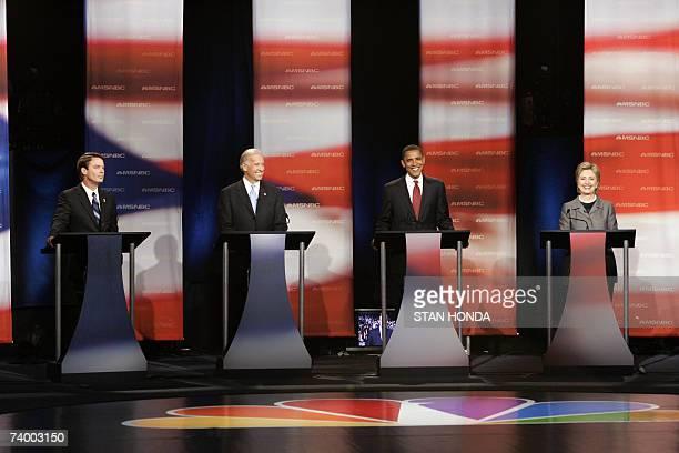 Former US Senator John Edwards US Senator Joe Biden US Senator Barack Obama and US Senator Hillary Rodham Clinton participate inthe Democratic Party...