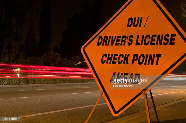 orangecheckpointsign - drunk driving stock photos and pictures