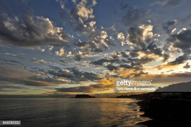 Orange-colored clouds on Enoshima Island and Sagami Bay in the sunset