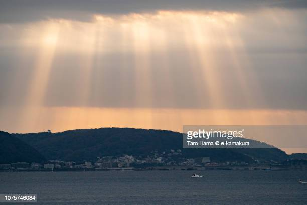 Orange-colored morning angel ladder on Hayama town in Miura Peninsula and Sagami Bay, pat of Pacific Ocean in Japan