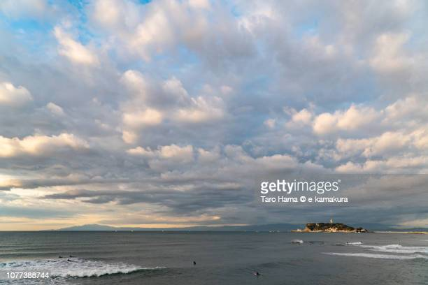 Orange-Colored morning clouds on Enoshima Island and Sagami Bay, Pacific Ocean in Japan