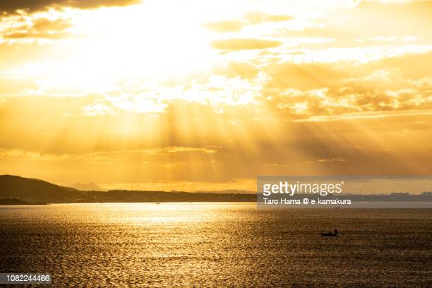 orange-colored morning sunbeam on the beach in kamakura and yokosuka cities and sagami bay, part of northern pacific ocean in japan - 夜明け ストックフォトと画像