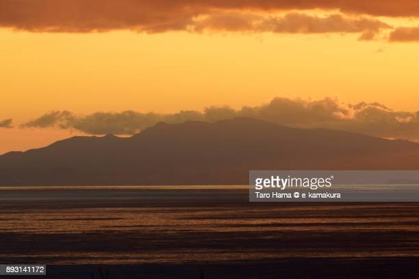 Orange-colored sunset clouds on Izu Peninsula and Sagami Bay