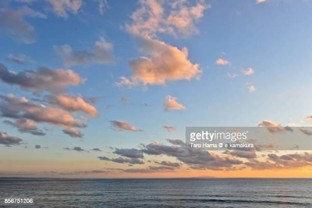 Orange-colored sunset clouds on Sagami Bay and Izu Peninsula