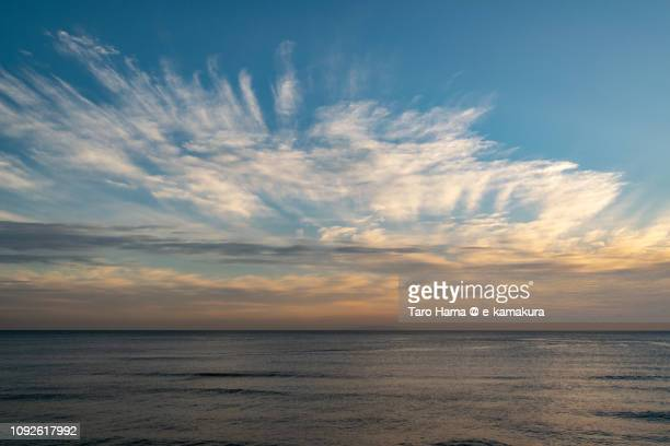 Orange-colored sunset clouds on Sagami Bay, Pacific Ocean in Japan