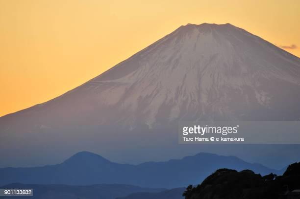 Orange-colored sunset Mt. Fuji in Japan