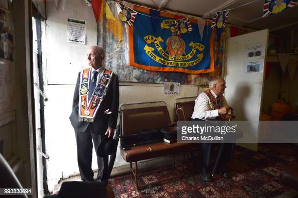 Orangemen enjoy cups of tea and refreshments in the makeshift 'Hillside Cafe' after taking part in the Drumcree march and protest on July 8, 2018 in...