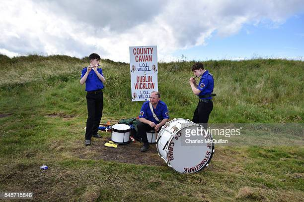 Orangemen practice before taking part in the annual pre Twelfth of July parade held in Rossnowlagh on July 9 2016 in Donegal Ireland The...
