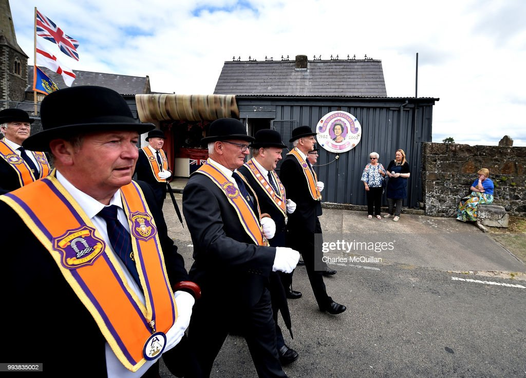 Orangemen take part in the Drumcree march and protest on July 8, 2018 in Portadown, Northern Ireland. The controversial flashpoint which was marred by intense violence in the 1990s and early 2000s. today marks the 20th anniversary of the Drumcree dispute. The Parades Commission has prohibited the Garvaghy road section of the parade since 1998 although Orangemen have continued to protest peacefully on a weekly basis.