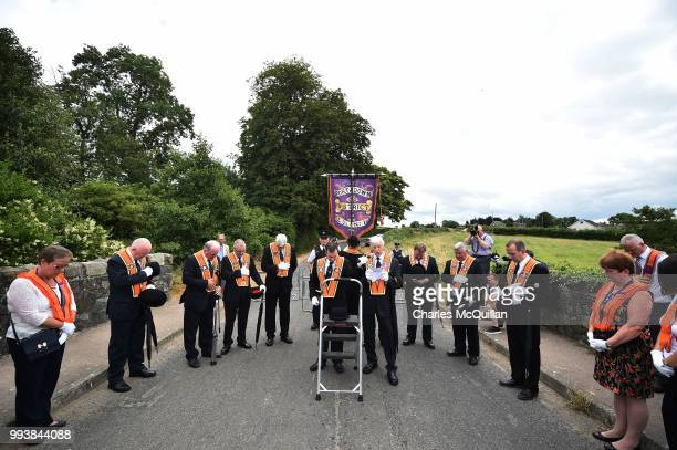 Orangemen take part in the Drumcree march and protest on July 8, 2018 in Portadown, Northern Ireland. The controversial flashpoint which was marred...