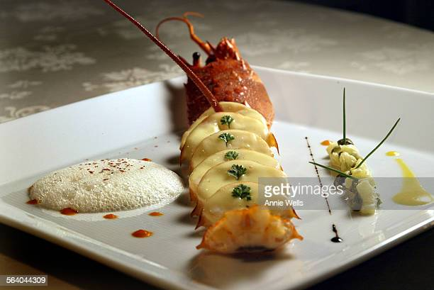 Incredible room with flowers, candlelight, great feeling and with good dining. This is Santa Barbara Spiny Lobster Salad, Pineapple Gribiche Sauce...