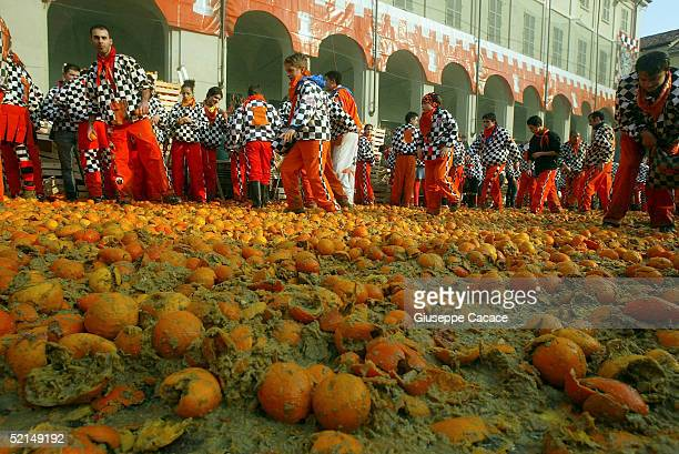 Oranges are seen on the ground during the Orange Battle at the 2005 Ivrea Carnival on February 6 2005 in Ivrea ItalyDuring the Orange Battle 3600...