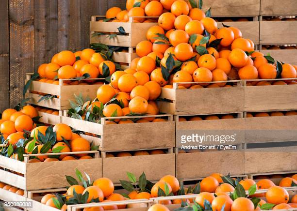 Oranges For Sale At Market Stall