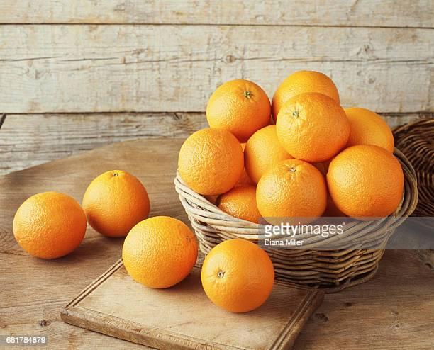 Oranges in wicker basket