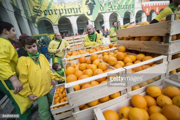 Oranges ready to be thrown during the traditional 'battle of the oranges' held during the Ivrea Carnival on February 26 2017 in Ivrea near Turin...