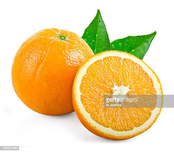 Oranges with leafs