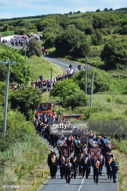 Orangmen take part in the annual pre Twelfth of July parade held in Rossnowlagh on July 8 2017 in Donegal Ireland The demonstration in Rossnowlagh is...