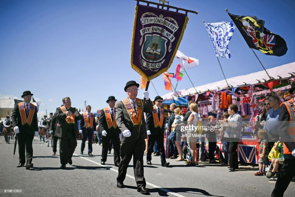 Orangmen take part in the annual pre Twelfth of July parade held in Rossnowlagh on July 8, 2017 in Donegal, Ireland. The demonstration in Rossnowlagh is traditionally held the Saturday before the Twelfth of July parades across the border in the north of Ireland. The annual Orange marches and demonstrations celebrate the Battle of the Boyne in 1690 when the Protestant King William of Orange defeated the Catholic King James II on the banks of the river Boyne.