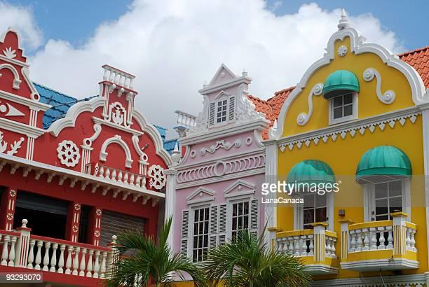 oranjestad architecture, aruba - oranjestad stockfoto's en -beelden
