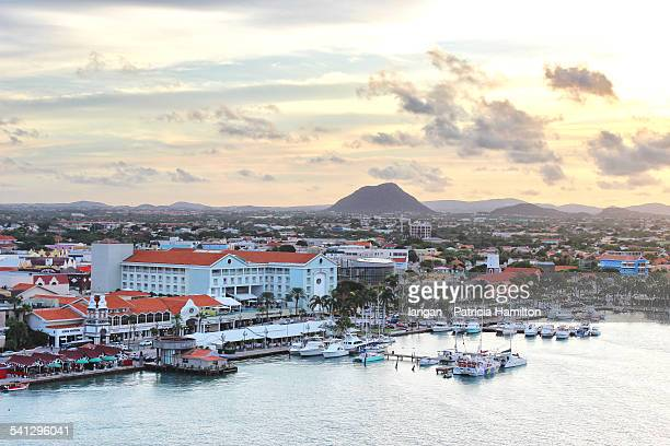 oranjestad, aruba at dawn - oranjestad stockfoto's en -beelden