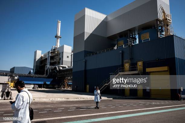 Orano employees stands on the site of the new conversion site Philippe Coste COMURHEX II Uranium located on the Tricastin nuclear plant site in...