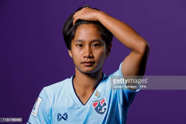 Orapin Waenngoen of Thailand poses for a portrait during the official FIFA Women's World Cup 2019 portrait session at Grand Hotel Continental on June...