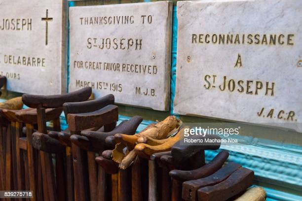 crutches and thankfulness plaques inside the Brother Andre wooden chapel The place was the starting point of what is today Canada's largest Catholic...