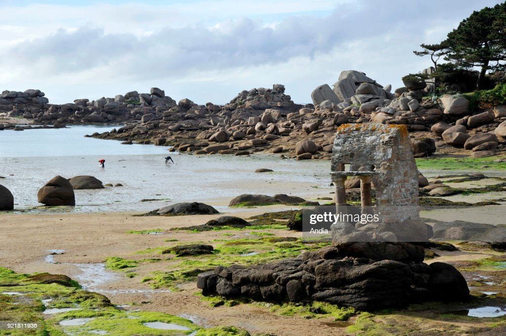 Oratory of Saint-Guirec on the beach of Ploumanac'h, along the 'cote de granit rose' (Pink Granite Coast). The oratory at low tide.