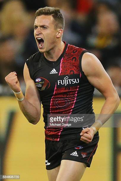 Orazio Fantasia of the Bombers celebrates a goal during the round 10 AFL match between the Essendon Bombers and the Richmond Tigers at Melbourne...