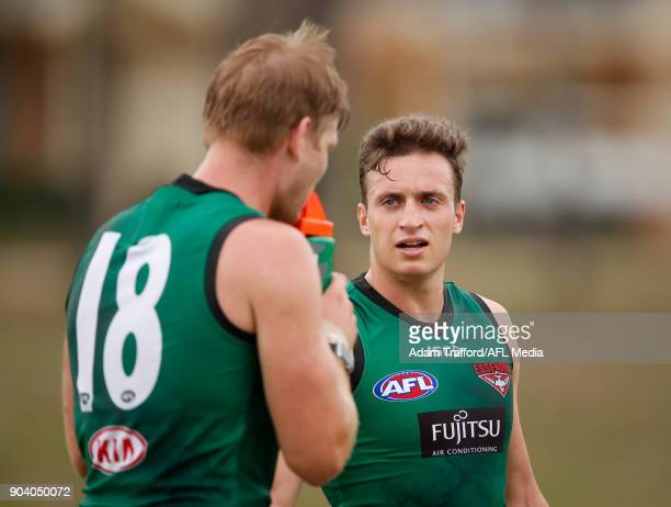 Orazio Fantasia of the Bombers chats to Michael Hurley of the Bombers during the Essendon Bombers training session at The Hangar on January 12 2018...
