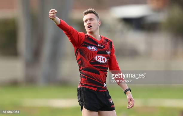 Orazio Fantasia of the Bombers gestures during an Essendon Bombers AFL training session at the Essendon Football Club on September 1 2017 in...