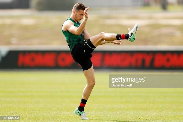 Orazio Fantasia of the Bombers kicks the ball during an Essendon Bombers training session at The Hangar on April 5 2018 in Melbourne Australia