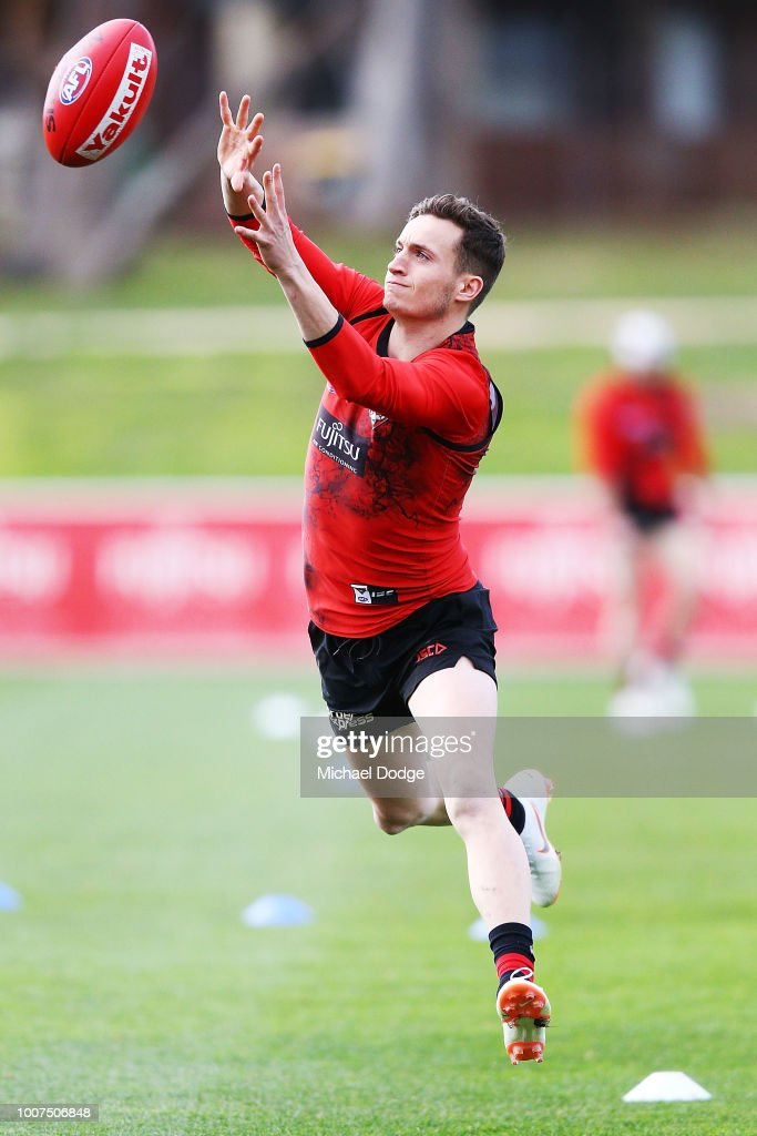Orazio Fantasia of the Bombers marks the ball during an Essendon Bombers AFL training session at The Hangar on July 30, 2018 in Melbourne, Australia.