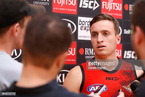 Orazio Fantasia of the Bombers speaks to the media before an Essendon Bombers AFL training session at the Essendon Football Club on April 10 2018 in...
