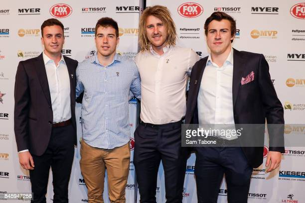 Orazio Fantasia Zach Merrett Dyson Heppell and Andrew Mcgrath arrives ahead of the AFL Players' MVP Awards on September 12 2017 in Melbourne Australia