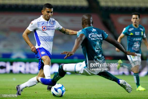 Orbelin Pineda 0f Cruz Azul Competes for the ball with Andres Mosquera of Leon during the 8th round match between Leon and Cruz Azul as part of the...