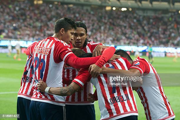 Orbelin Pineda of Chivas celebrates after scoring the first goal of the game during the 12th round match between Chivas and Pumas UNAM as part of the...
