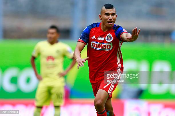 1ae50f96b66 Orbelin Pineda of Chivas celebrates after scoring the first goal of his  team during the quarter