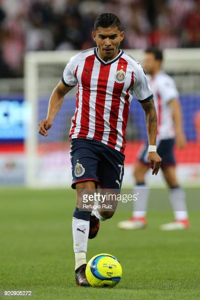 Orbelin Pineda of Chivas drives the ball during the 8th round match between Chivas and Pachuca as part of the Torneo Clausura 2018 Liga MX at Akron...
